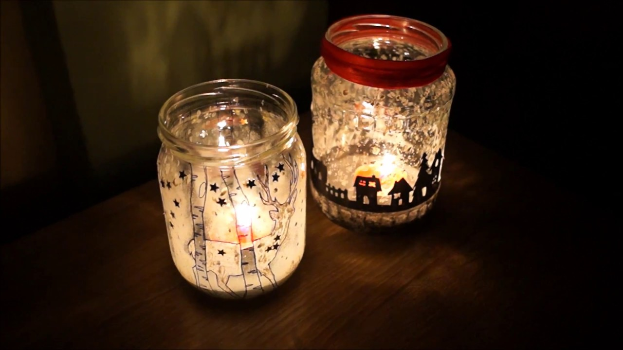 Christmas Candles In jar